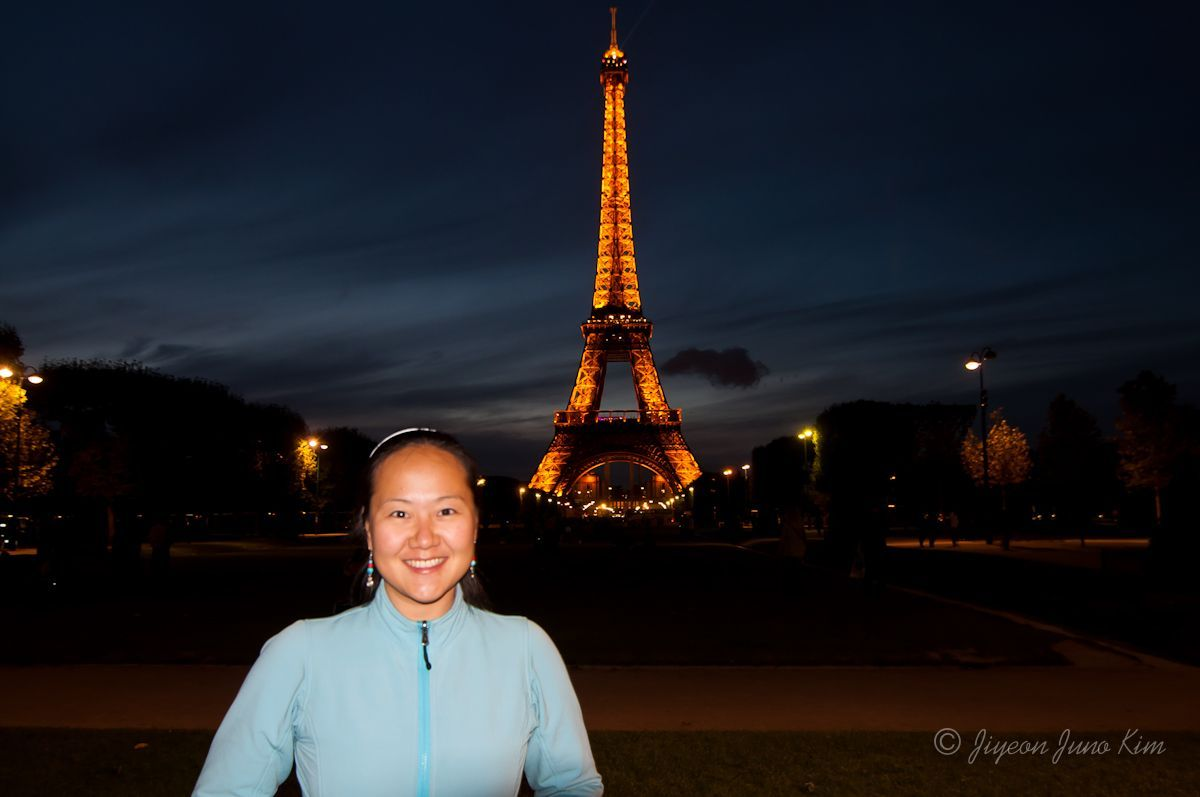 Infront of the Eiffel Tower in France