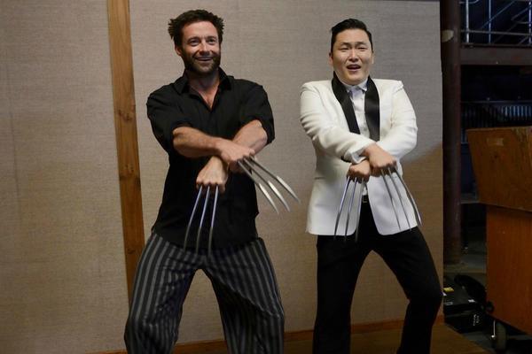 Psy met Hugh Jackman