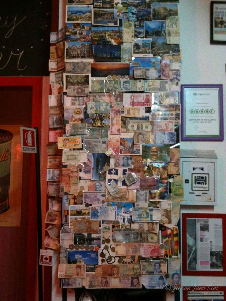 Wall of Money at the Hostel of the Sun