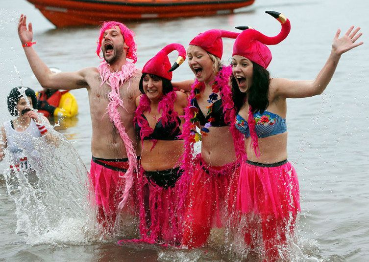 the Loony Dook New Year's Day dip in the Firth of Forth at South Queensferry