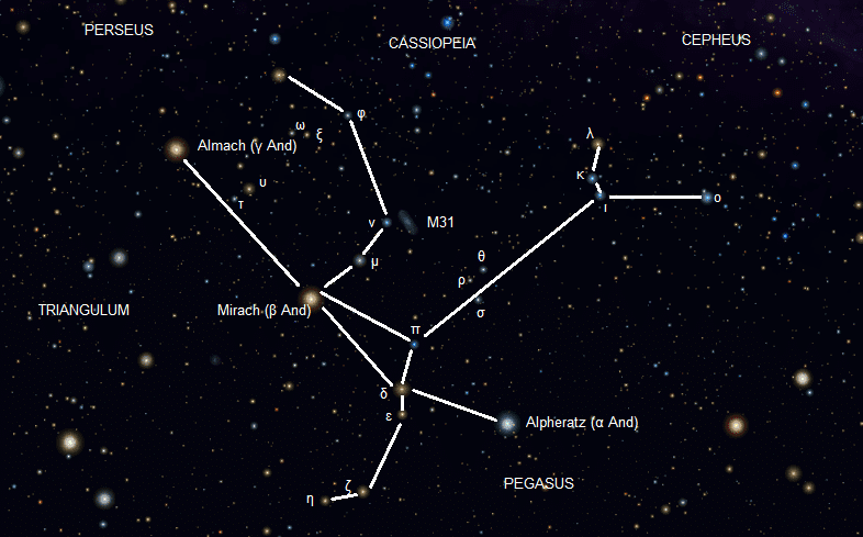 Andromeda as it appears in the night sky, with the superimposed figure.