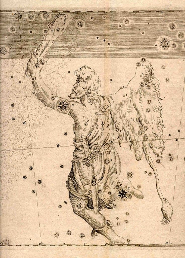 An engraving of Orion from Johann Bayer's Uranometria, 1603 (US Naval Observatory Library)