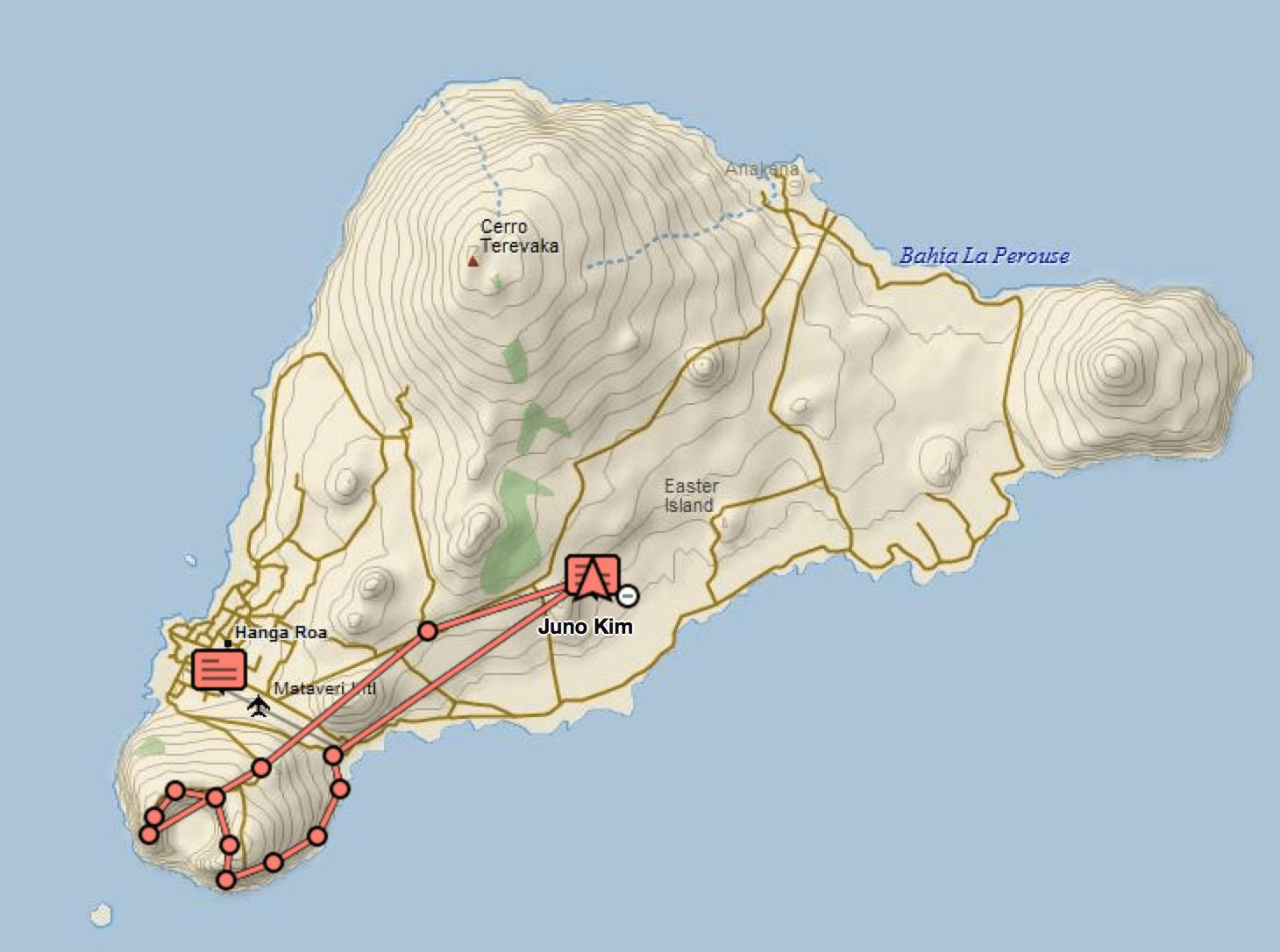 Rano Kau Hikig Trail - tracked by my InReach GPS by DeLorme