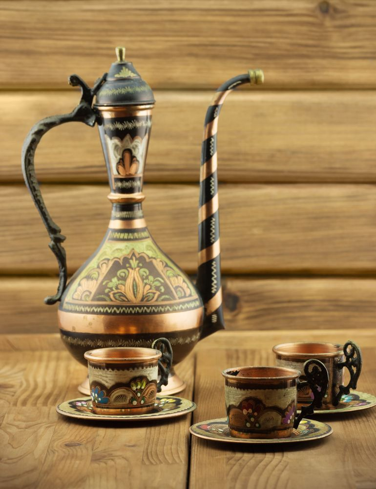 Copper coffee set from Turkey